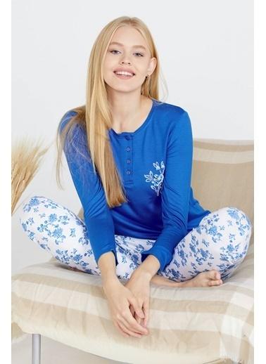 Sementa Kadın Uzun Kol Pijama Takım - Mavi Mavi